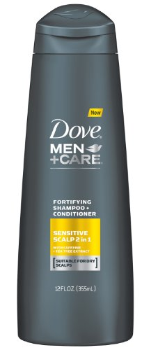 Dove Men+Care Fortifying 2 In 1 Shampoo + Conditioner, Sensitive Scalp With Caffeine, 12 Oz