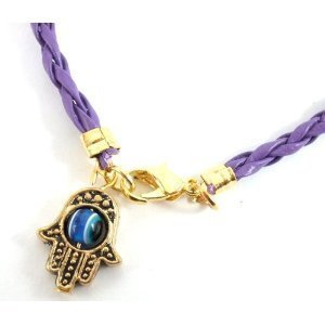 Hamsa Shamballa Friendship Bracelet Evil Eye Charm Kabbalah Hand Of Fatima Purple
