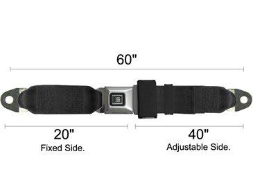 "Seat Belts Plus 1205-60 - Gm Logo Lap Seat Belt, 60 Inch Length, Metal Buckle With ""Gm Logo"" Push Button, Each - Non-Retractable - Black front-787953"