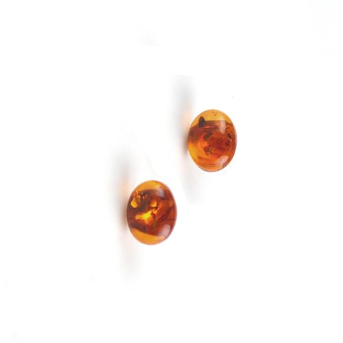 Oval Amber & Sterling Silver Post Earrings