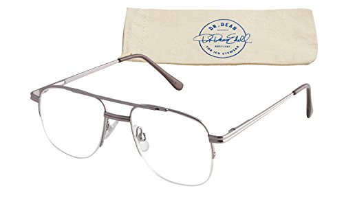 Dr. Dean Edell Premier Metal Semi Rimless Pilot Silver Double Brow with SH and Case, +1.75 by Dr. Dean Edell
