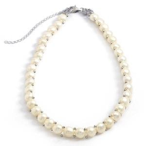 White Pearl Choker Necklace Adjustable from 14 to 17 inches