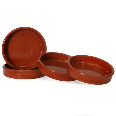 Set of 4 Rustic Cazuela Clay Pans - 6 inch/ 15 cm