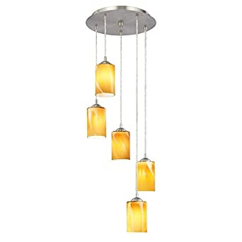 multi light pendant with cylinder art glass and five lights