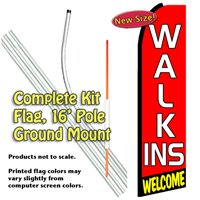Walk-ins Welcome Feather Banner Flag Kit (Flag, Pole, & Ground Mt)