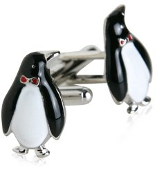 Formal Silver Penguin Cufflinks with Gift Box