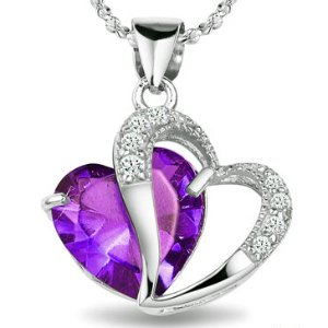 31exjFNqofL Rhodium Plated 925 Silver Diamond Accent Amethyst Heart Shape Pendant Necklace 18 sn3017