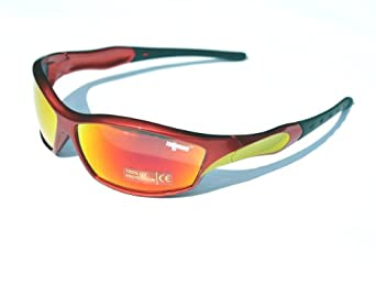 Ladgecom [ Fire ] Sports Sunglasses with Revo Lens, Hard Case, Cleaning Cloth & Head Strap