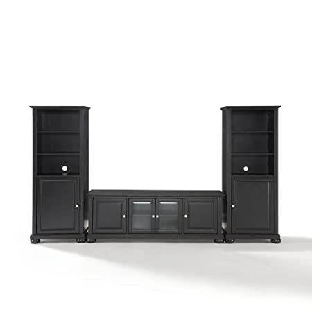 Crosley Alexandria 60 in. Low Profile TV Stand and Two 60 in. Media Piers
