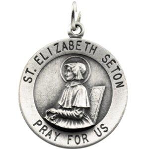 14K Yellow Gold Round St. Elizabeth Seton Medal