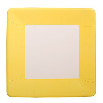 Mimosa Yellow Square Paper Plates Coordinate Textured 7-inch 12 per Pack