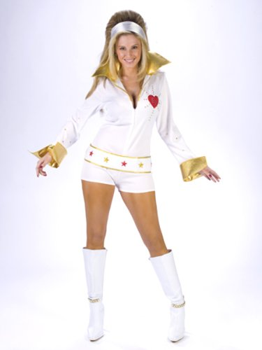 Womens Sexy Elvis Costume Elvis Vegas The King White Jumpsuit