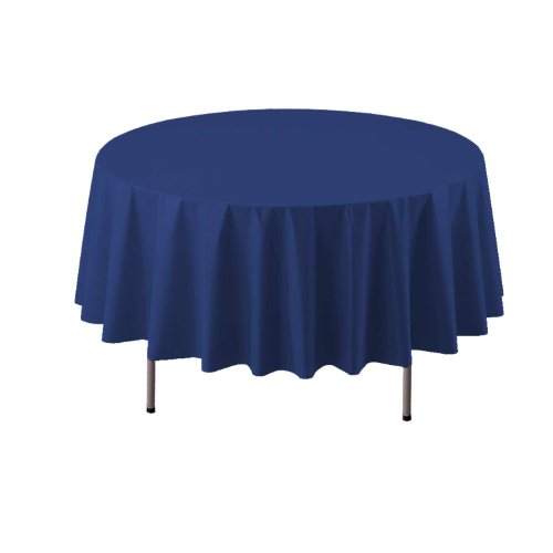 "Party Essentials ValuMost Round Plastic Table Cover, 84"", Navy Blue"