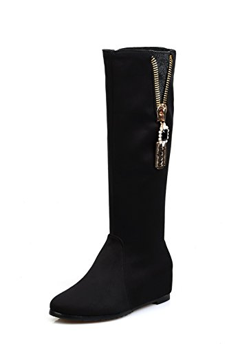 VogueZone009 Womens Closed Round Toe Kitten Heels PU Solid Boots with Metalornament and Rhinestones