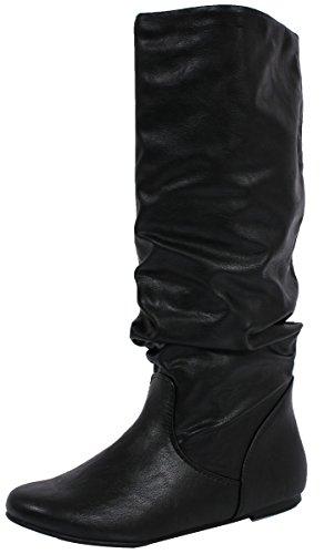 Soda Women'S Zuluu Slouchy Faux Leather Knee High Flats Boots, Black, 9 M Us