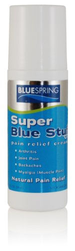 Super Blue Stuff OTC 3-oz. Roll-on - All Natural, Made in USA, Works fast in as little as 5 minutes for Joint/Muscle Pain, Myalgia, Backaches, Sprains, Strains, Bruises, and 100+ Forms of Arthritis