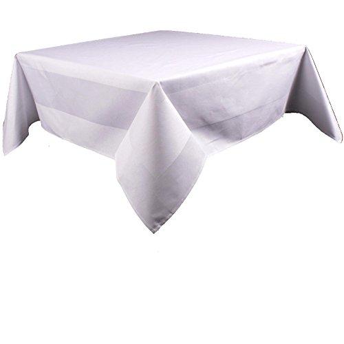 Damast Tischdecke eckig, Uni, Weiß, 100% Baumwolle, pflegeleicht, kochfest, Atlaskante, Vollzwirn | 130x130 cm