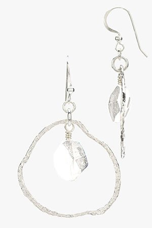 Contemporary Silver Circle Earrings with Swarovski Crystal Drop (Small) Silver