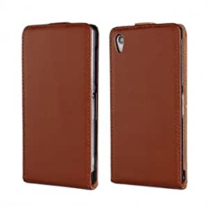 Flip Leather Protective Case Cover for SONY Z2 Smartphone-Brown