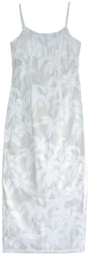 Empire Waist Long Sundress - Palm Trees Spaghetti Strap Hawaiian Aloha Tailored Fit Ankle Length Sun Dress in Wedding White - M