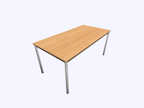 Scrivania D-serie colore (base): cromato, colore (piano): in legno di faggio