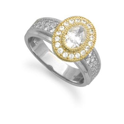 Jewelco London 9ct Yellow and White gold Ladies CZ Ring - Size K