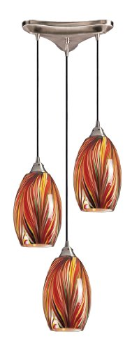 B000N1NP3K Elk 517-3M 3-Light Pendant In Satin Nickel and Multi Glass