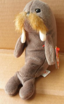 TY Beanie Babies Jolly the Walrus Stuffed Animal Plush Toy - 7 inches long - Brown - Style 4082