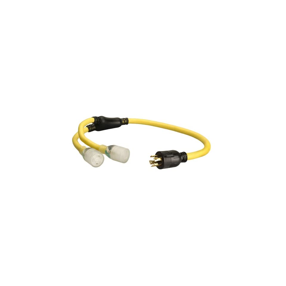 Coleman Cable 01933 3 Feet 10/4 Generator Power Cord Adapter, L14 30P to (2) L5 20R
