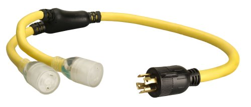 Coleman Cable 01933 3-Feet 10/4 Generator Power Cord Adapter, L14-30P to (2) L5-20R