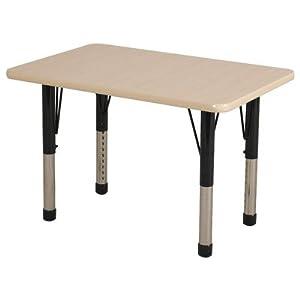 ECR4Kids 24x36 Rectangular Adjustable Activity Table in Maple ELR-14106 Edge Banding: Maple, Leg Color: Yellow, Leg Style: Toddler Leg Standard Nylon Glides
