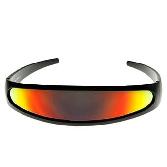 Futuristic Narrow Cyclops Color Mirrored Lens Visor Sunglasses (Black Fire)