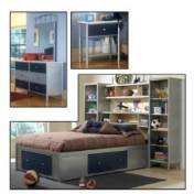 Hillsdale Furniture 1178372Stgwps5 Universal 5 Piece Twin Bookcase Bedroom Set In Silver With Navy 1178372Stgwps5 front-1071876