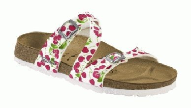 Cheap Birkis slippers Salina in size 24.0 N EU made of Birko-Flor in White Cherry with a narrow insole (B005OI5698)
