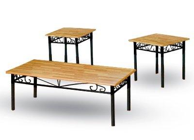 Coffee Table and 2 End Tables - Oak Veneer Top with Black Metal