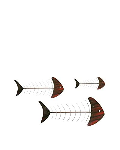 C'Jere By Artisan House Pescados Set of 3 Metal Wall Installation, Multi