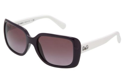 D&g By Dolce & Gabbana Women's 8067 Black On White Frame/Violet Gradient Lens Plastic Sunglasses