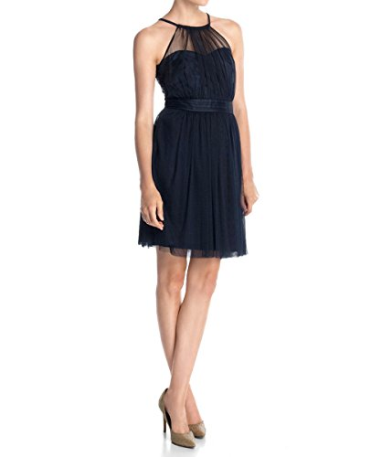 ESPRIT Collection Damen Neckholder Kleid Tüll, Knielang, Einfarbig, Gr. 38, Blau (DARK NIGHT BLUE 411)
