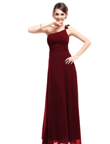 Ever Pretty One Shoulder Red Maxi Evening Gowns For Wedding 09596, HE09596RD14, Red, 12US