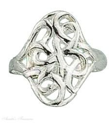 Sterling Silver Wide Ribbon Filigree Ring Size 5