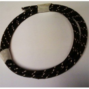 18 Ga Cotton Braided Wire, 10 Foot Section. Color: Black With White Tracer