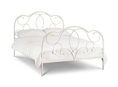 Arabella Stone White Metal Bed With Luxury Spring Mattress: All Sizes Available