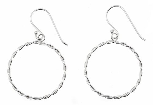 Sterling Silver Twist Design Large Hoop Earrings