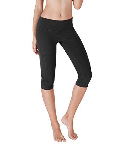 Yoga Reflex - Yoga Capris for Women - Running Capri Pants With Hidden Pocket (XS-2XL) , Black , Medium