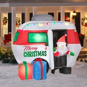 Animated Santa in Camper Christmas Inflatable 5.5' Tall X 4.5' Long