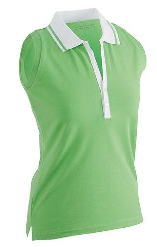 Ladies Elastic Polo Sleeveless Lime/wht M