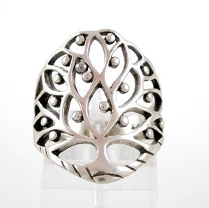Large Sterling Silver Celtic Tree of Life Ring