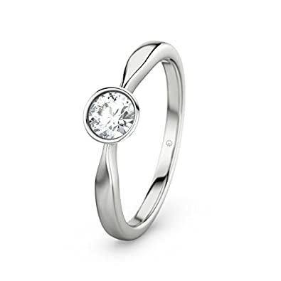 21DIAMONDS Women's Martina White Topaz Diamond Engagement Ring, 9ct White Gold Engagement Ring