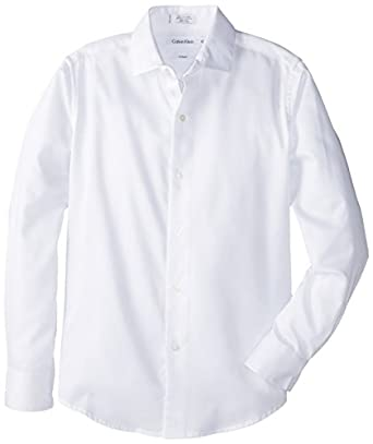 Calvin Klein Big Boys' Sateen Hanging Dress Shirt, White, 12