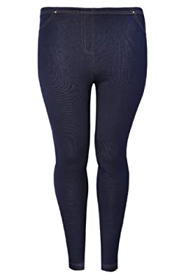 Plus Size Womens Indigo Jersey Jeggings With Denim Look Stitch Detailing